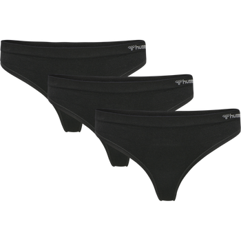 hmlJUNO 3-PACK SEAMLESS THONG, BLACK, packshot