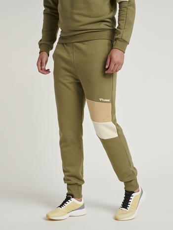hmlAIDAN REGULAR PANTS, BURNT OLIVE , model