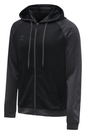 hmlACTION ZIP HOODIE SWEAT, BLACK/ASPHALT, packshot