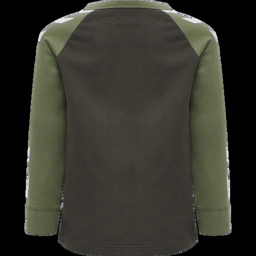 hmlRYAN T-SHIRT L/S, DEEP LICHEN GREEN, packshot