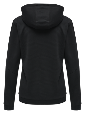 hmlAUTHENTIC POLY HOODIE WOMAN, BLACK/WHITE, packshot
