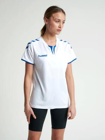 CORE WOMENS SS JERSEY, WHITE/TRUE BLUE, model
