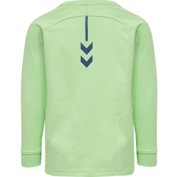 hmlACTION COTTON SWEATSHIRT KIDS, GREEN ASH/BLUE CORAL, packshot