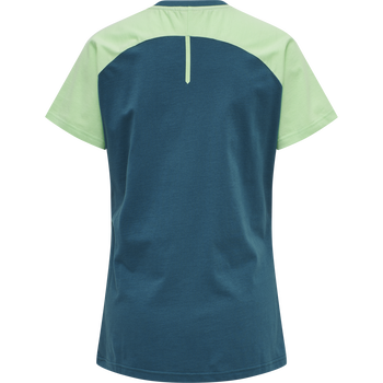 hmlACTION COTTON T-SHIRT WOMAN, BLUE CORAL/GREEN ASH, packshot