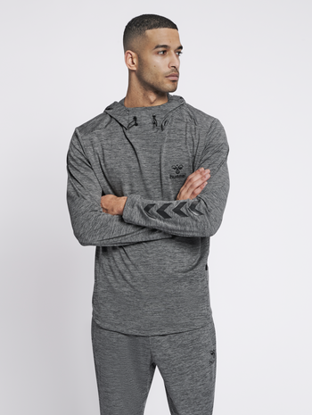 hmlASTON HOODIE, DARK GREY MELANGE, model