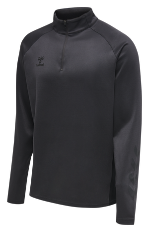 hmlACTION HALF ZIP SWEAT, BLACK/ASPHALT, packshot