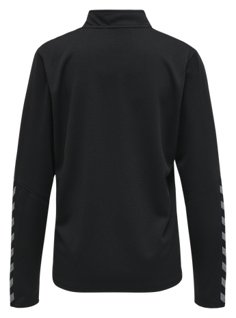 hmlAUTHENTIC HALF ZIP SWEATSHIRT WOMAN, BLACK/WHITE, packshot
