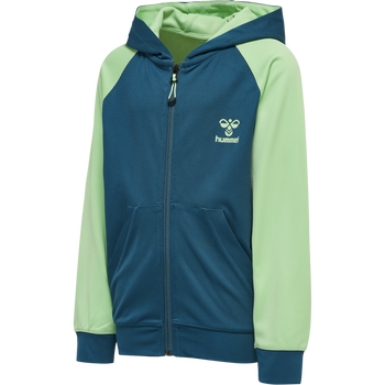 hmlACTION ZIP HOODIE KIDS, BLUE CORAL/GREEN ASH, packshot