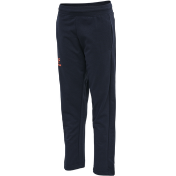 hmlACTION COTTON PANTS KIDS, DARK SAPPHIRE/FIESTA, packshot