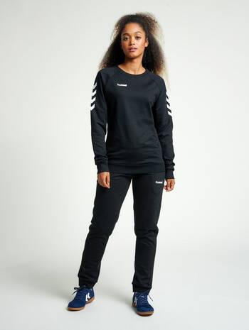 HMLGO COTTON SWEATSHIRT WOMAN, BLACK, model