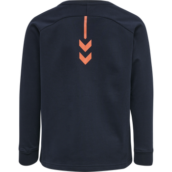 hmlACTION COTTON SWEATSHIRT KIDS, DARK SAPPHIRE/FIESTA, packshot